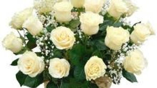 18 White Roses In A Basket
