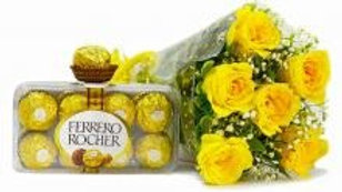 Yellow Roses With Ferrero Chocolate