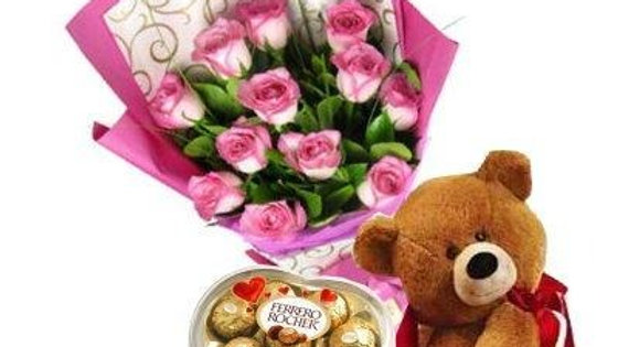 12 Roses, Teddy Bear And FREE Chocolates