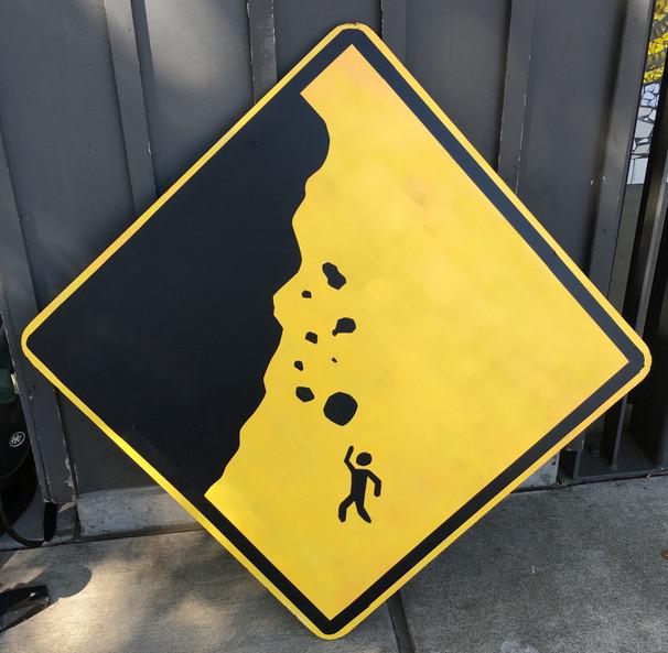 Falling Rocks Roadsign