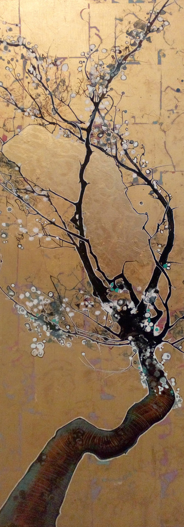 japanese blossom on brass leaf