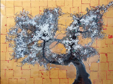 blossom tree on gold leaf II