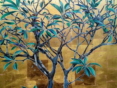 twin franjipani on gold leaf
