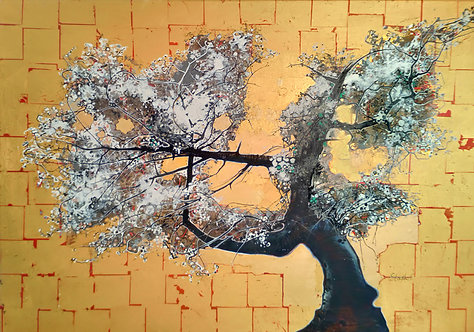 blossom tree on gold