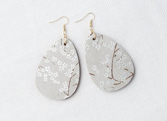 Silver Cherry Blossom Teardrop