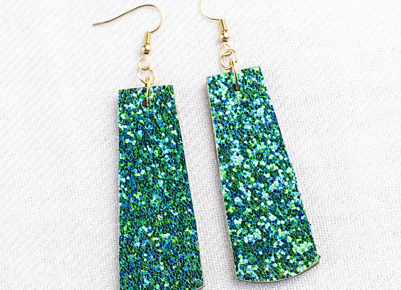 Blue Green Glitter Rectangle