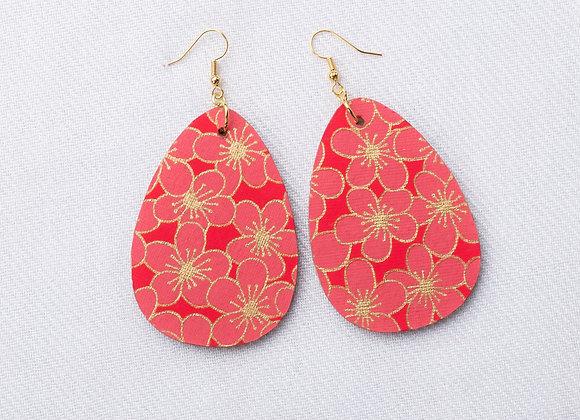 Red & Pink Floral Teardrop