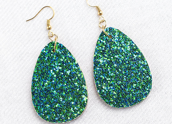 Blue Green Glitter Teardrop