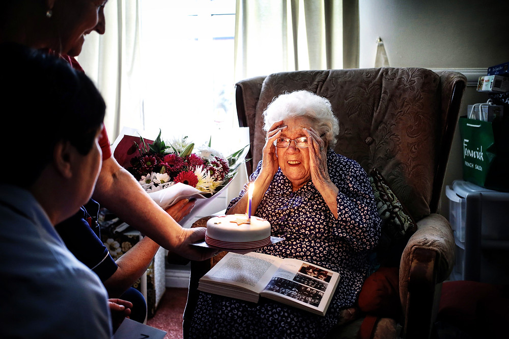 Nora Wright photographed on her 104th birthday.
