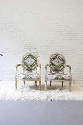 Pair of antique Louis XVI armchairs, 1800s, reupholstered