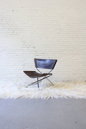 Brown leather Z-Chair, by Erik Magnussen, '60.
