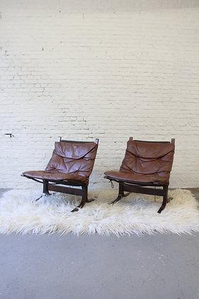 Pair of vintage Ingmar Relling Siësta arm chairs