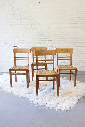 Set of 4 French Bistro Dining Chairs ('50)