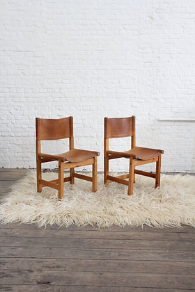 Pair of French Cognac leather and pinewood dining chairs, '60