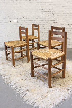 Set of 4 Dining Chairs, C. Perriand Style