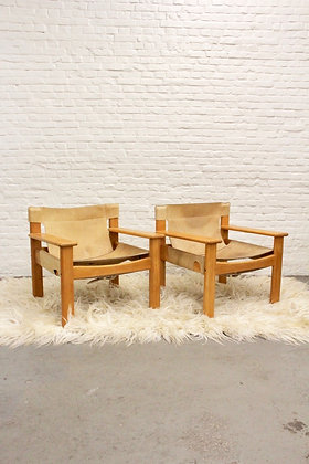 Pair of Natural Leather Safari Chairs by Karin Mobring