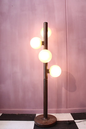 Elegant Floor lamp, teak wood and glass bulbs
