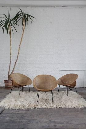 Midcentury Italian rattan lounge chairs, set of 3