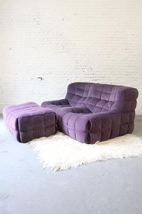 Vintage purple two-seater & pouf Kashima by M. Ducaroy, for Ligne Roset, 1970's