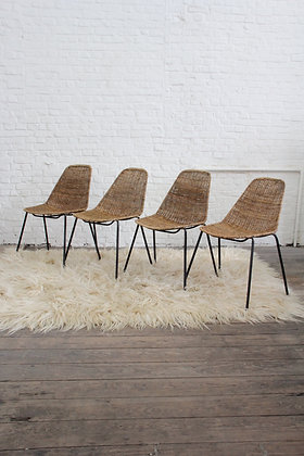 Set of 4 dining chairs 'Basket' by Gianfranco Legler