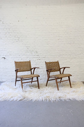 Pair of Wooden armchairs with papercord seating, '50