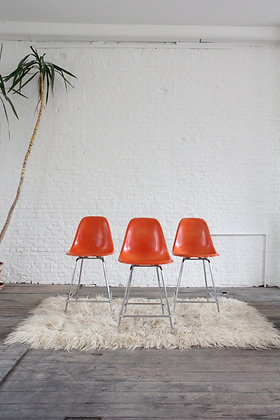 Set of 3 fiberglass shell bar stools by Modernica