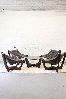 Vintage set Luna Lounge chairs, by Odd Knutsen