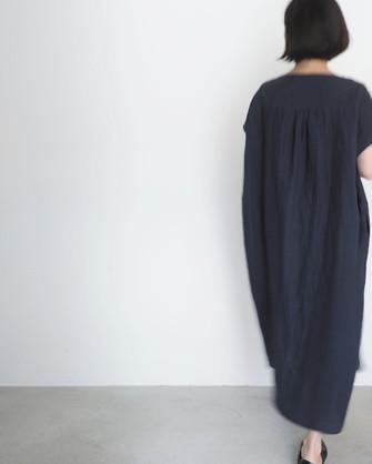 linen boatneck pullover dress
