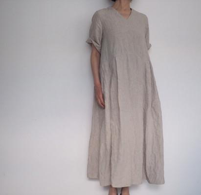 linen dungaree tuck dress