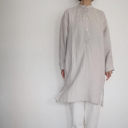 リネンスタンドカラープルオーバーシャツ linen stand collar pullover shirt