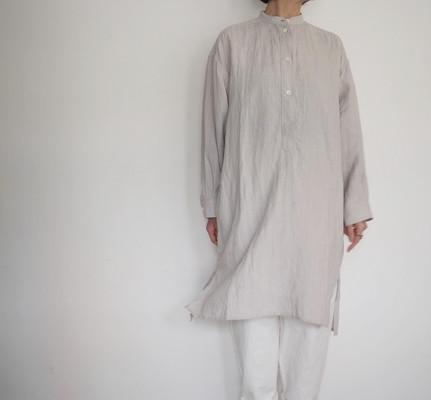linen stand collar pullover shirt