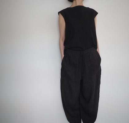 cotton linen boatneck pullover shirt