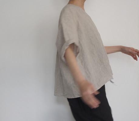 linen dungaree vneck pullover shirt
