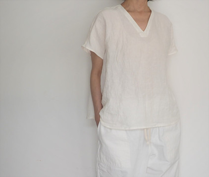 linen dungaree french sleeve shirt