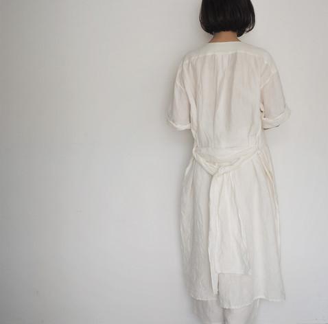 linen dungaree pullover dress