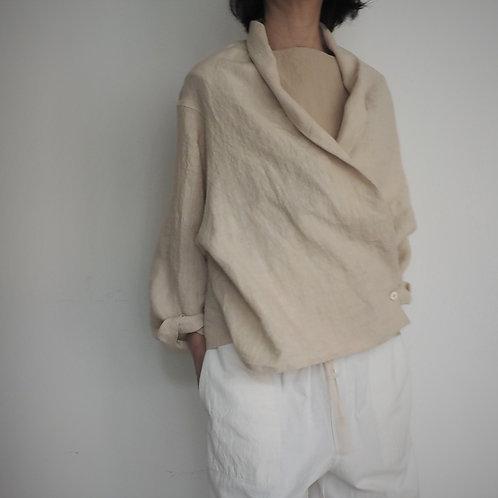 リネンショールカラーシャツ          LINEN SHAWL COLLAR SHIRT