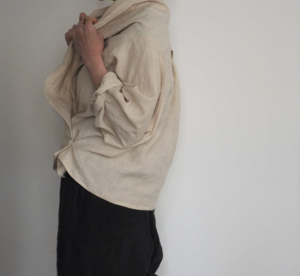 linen shawl collar shirt-beige
