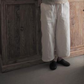 cotton-linen straight pants
