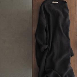 リネンウールボートネックドレス