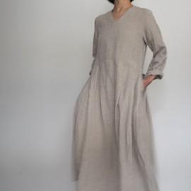リネンダンガリーVネックタックドレス