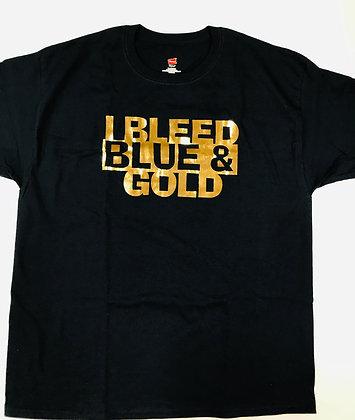 Turlock I Bleed Blue & Gold Metallic Tee - TB052