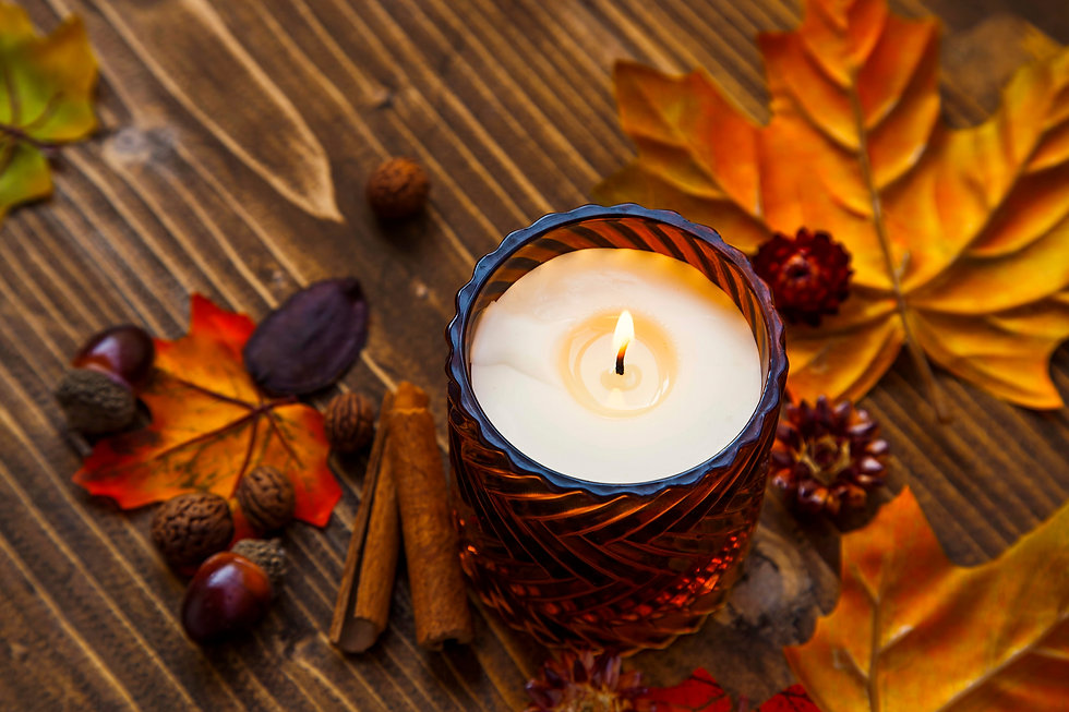 Fall candle decoration with dried leaves, autumn wooden home decor still life scented cand