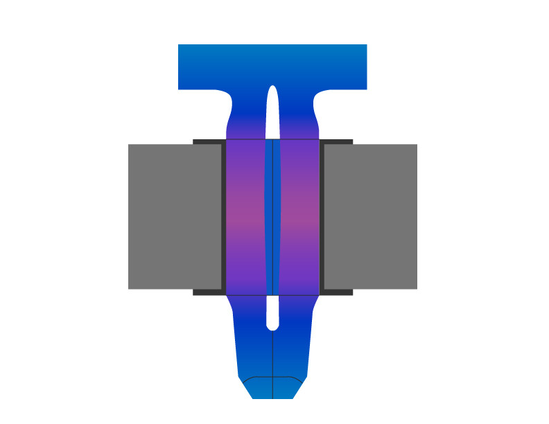 Autosplice Press-fit pin cross section