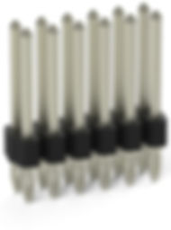 0.64 mm press-fit compliant solderless dual row vertical terminal header