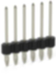 0.64 mm press-fit compliant solderless single row vertical terminal header