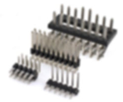 Press-fit continuous molded pcb pin header connector