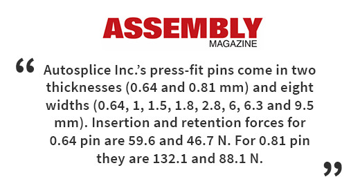 Autosplice Inc.'s press-fit pins come in two thicknesses (0.64 and 0.81 mm) and eight widths (0.64, 1, 1.5, 1.8, 2.8, 6, 6.3 and 9.5 mm). Insertion and retention forces for 0.64 pin are 59.6 and 46.7 N. For 0.81 pin they are 132.1 and 88.1 N.