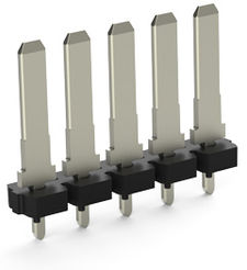 Solder tail continuous molded PCB pin header connector