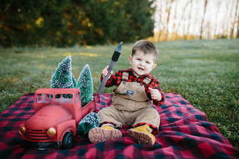 Lincoln's First Birthday - Lumberjack Birthday Photos {Pittsburgh Family Photographer}
