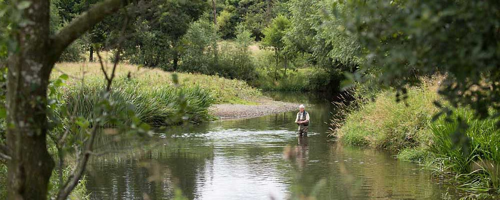 A photo of the Wern Ddu beat of the River Clwyd at St Asaph near Rhyl North Wales. Controlled by Rhyl an St Asaph Angling Association, the river Clwyd offers fishing for wild brown trout, sea trout and salmon.